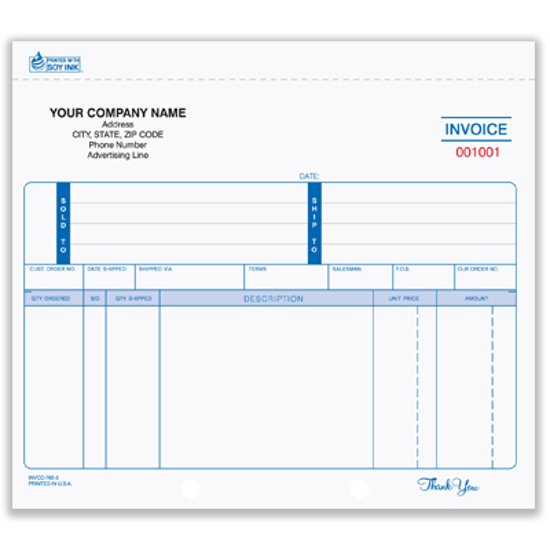 Picture of Invoice Form - 3 Part Unruled Carbonless (INVCC-765-3)