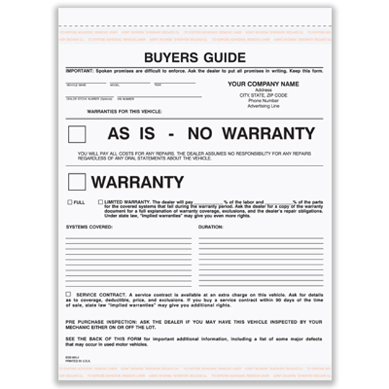 Picture of Buyer's Guide Warranty Form - 2 Part Carbonless (BGS-685-2)