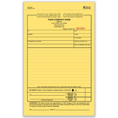 Picture of Change Order Form - 3 Part Carbonless (COCC-583-3)
