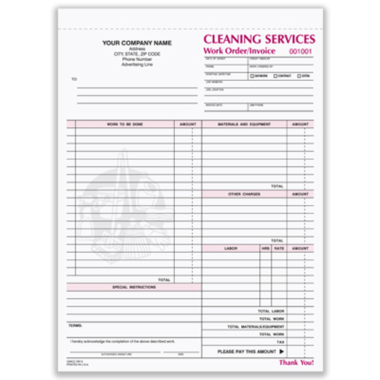 Picture of Cleaning Services Work Order Form - 3 Part Carbonless (CWICC-797-3)