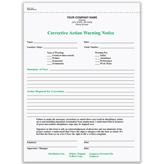 Picture of Corrective Action Warning Notice Form - 2 Part Carbonless (HRCC-365-2)