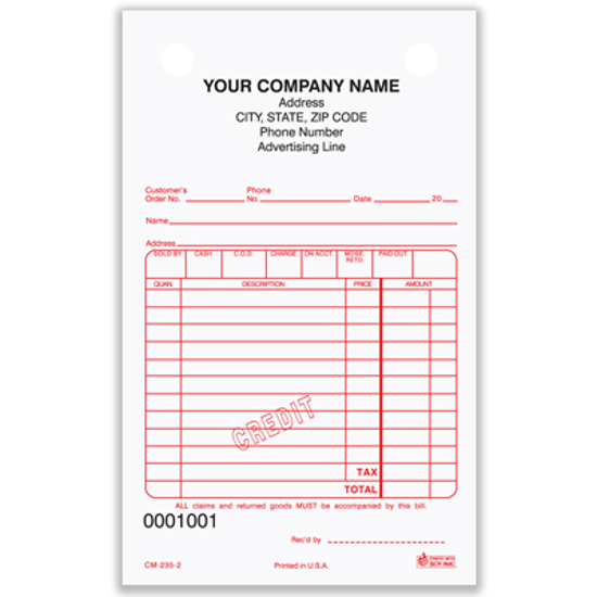 Picture of Credit Memo Form - 3 Part Carbonless (CM-235-3)