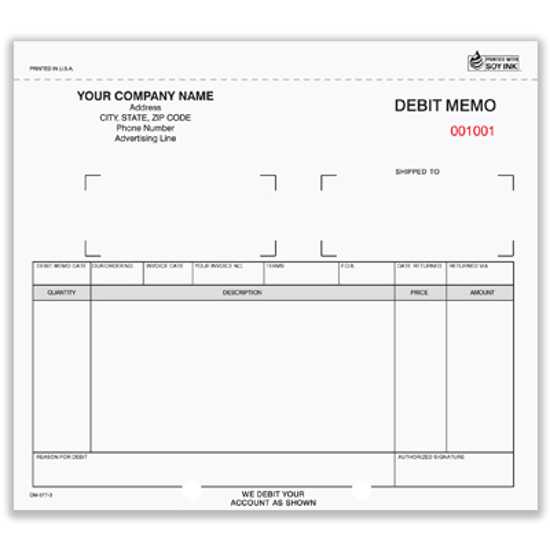 Picture of Debit Memo Form - 3 Part Carbonless (DM-577-3)