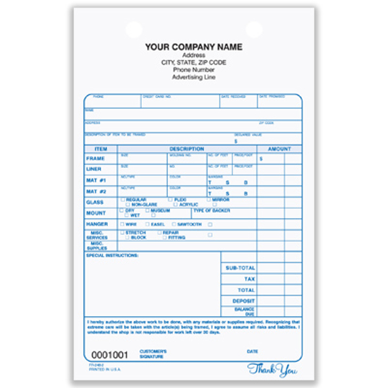 Picture of Framing Registration Form - 3 Part Carbonless (FR-248-3)