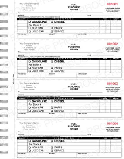Picture of FUEL Purchase Order Book - 3 Part Carbonless Imprinted (NC-124-3 FUEL)