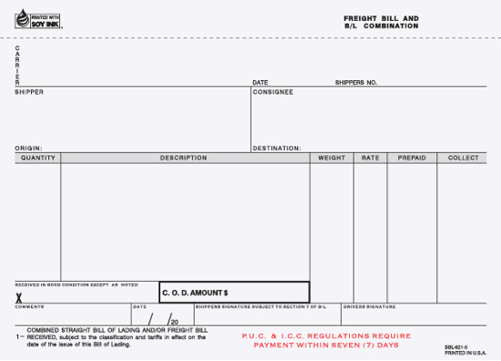 Picture of Freight Bill/Bill of Lading  - 5 Part Carbonless (BBLCC-620-5)