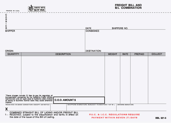 Picture of Freight Bill/Bill of Lading - 5 Part w/ Carbon - CA Version (BBL-321-5)