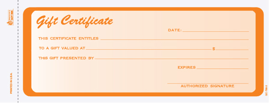 Picture of Gift Certificate - 2 Part Carbonless - Orange (GC-788-2)
