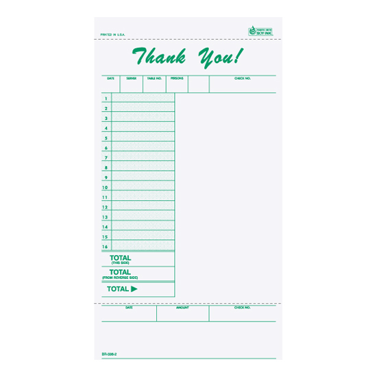 Picture of Guest Check -2-part- Imprinted Impact Paper (BR-598-2-IMP)