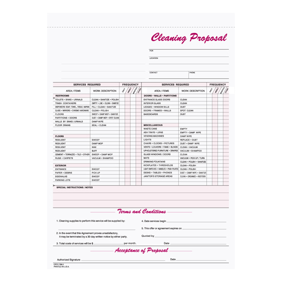 Picture of Janitorial Cleaning Proposal - 3 Part Carbonless (CPCC-796-3)
