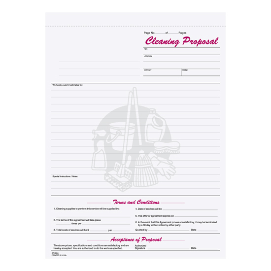 Picture of Janitorial Cleaning Proposal - 3 Part Carbonless (CPCC-795-3)