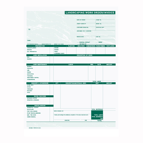Picture of Landscaping Work Order/Invoice (LWO-893-1