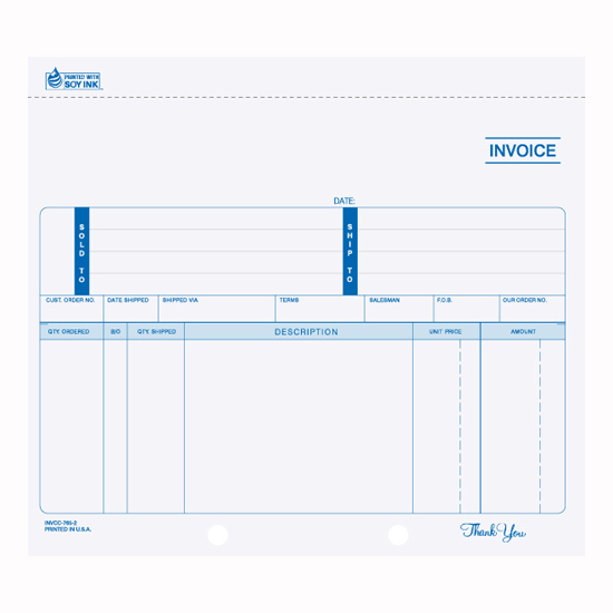 Picture of Invoice - 3 Part Unruled Carbon (INV-764-3)