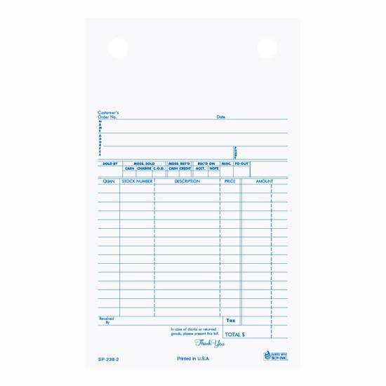 Picture of Stock Parts Register Form - 2 Part Carbonless (SP-238-2)