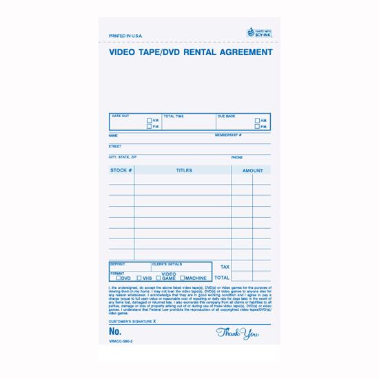 Picture of Video/DVD Rental Register Form - 2 Part Carbonless (VRACC-580-2)