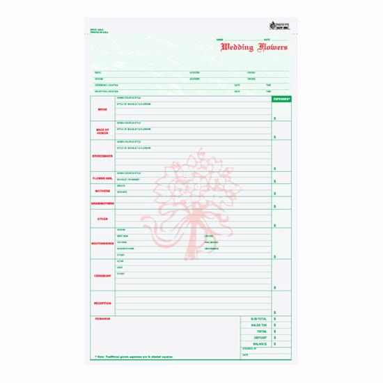 Picture of Wedding Flower Order Form - 2 Part Carbonless (WFCC-648-2)